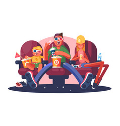 Family in cinema watching movie flat poster vector