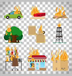Fire safety infographic on transparent background vector