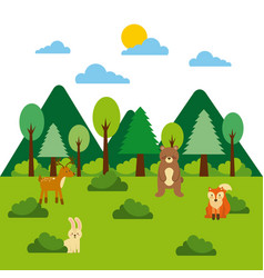 Forest and animals wildlife mountains pine tree vector