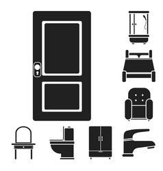 Furniture and interior black icons in set vector
