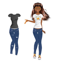 girl in embroidered tshirt vector image
