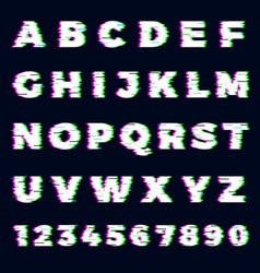 glitch font destroyer alphabet letters dynamic vector image