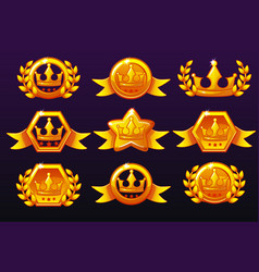 Gold templates crown icons for awards creating vector