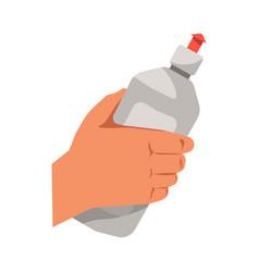 hand holding dish washing liquid flat vector image