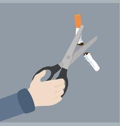 hand scissors cutting a cigarrette vector image