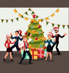 happy people having corporate xmas party vector image