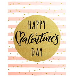 Happy valentine day golden striped greeting card vector