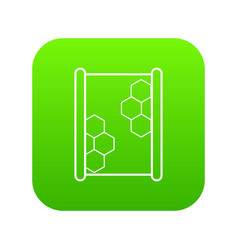 honeycomb on wood icon green vector image
