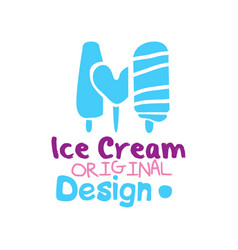 ice cream original logo emblem for restaurant vector image