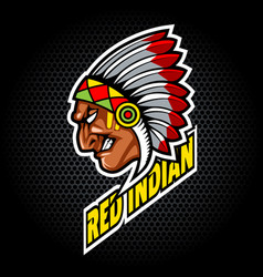 indian head from side can be used for club vector image