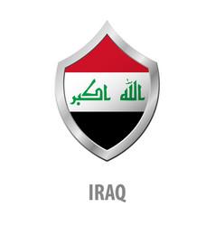 Iraq flag on metal shiny shield vector