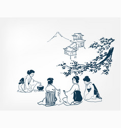 japanese design tea ceremony background women card vector image