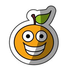 kawaii fruit orange happy icon vector image
