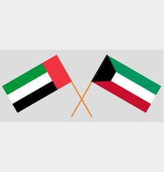 kuwait and united arab emirates flags vector image