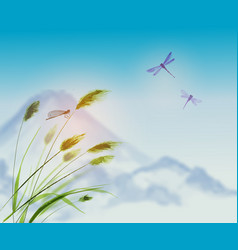 landscape with green grass dragonflies and vector image