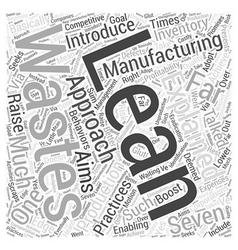 Lean manufacturing explained Word Cloud Concept vector