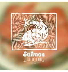 Linocut with a picture of salmon vector image
