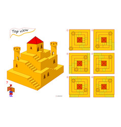 Logic puzzle game for children and adults 3d maze vector