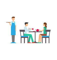 man and woman in cafeteria waiter service vector image