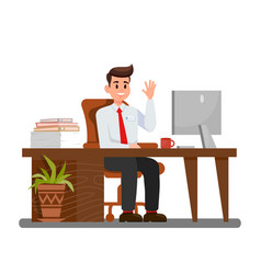 Man at workplace in office vector