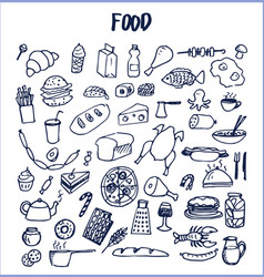 Many food pictures hand drawn vector