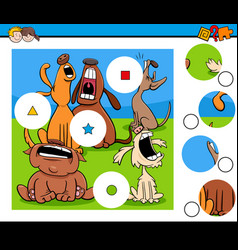 Match pieces puzzle with howling dog characters vector