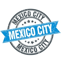 Mexico city blue round grunge vintage ribbon stamp vector