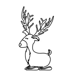 Monochrome contour of funny reindeer lazy vector