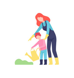 Mother teaching son to water plants mom and kid vector