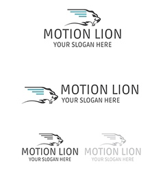 motion lion logo design vector image