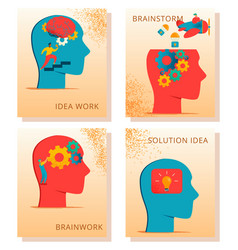 Neurology character cards set vector