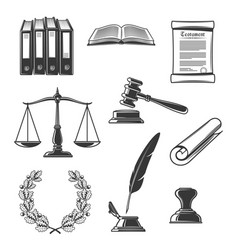 Notary justice and court authority icons vector