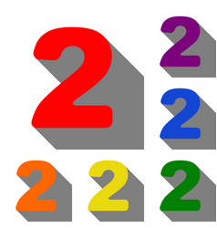 number 2 sign design template elements set of red vector image