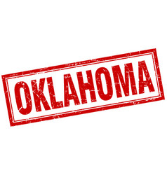 Oklahoma red square grunge stamp on white vector
