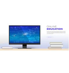 online education concept math formulas on screen vector image
