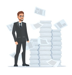 Paperwork and overworked of an employee engaged in vector image