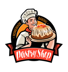 Pastry shop logo or label cook is holding a tray vector