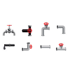 pipe icon set cartoon style vector image