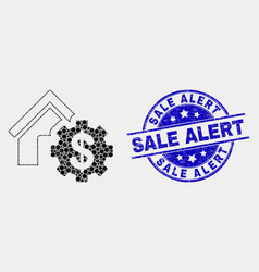 pixelated house financial settings icon and vector image
