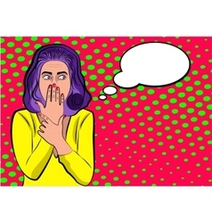Pop art cute woman with covering her mouth vector image