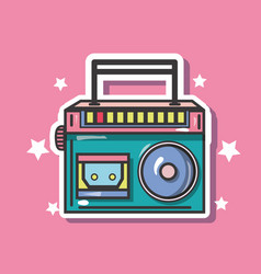 Pop art radio patch design vector
