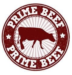 prime beef grunge rubber stamp vector image