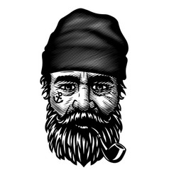 sailor with a beard and a smoking pipe vector image