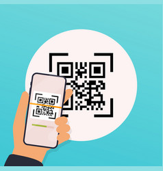 Scan qr code to mobile phone electronic digital vector
