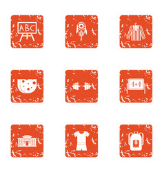 School uniform icons set grunge style vector