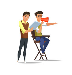 Screenwriter and director in chair characters vector