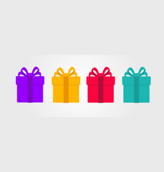 Set coloured surprise gift boxes flat modern vector