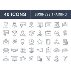 Set Flat Line Icons Business Training vector