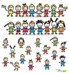 Set of cute happy cartoon kids vector