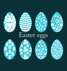 Set of easter eggs with a pattern vector